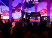 United States President Donald J. Trump waves to the audience after speaking at the Conservative Political Action Conference (CPAC) at the Gaylord National Resort and Convention Center in National Harbor, Maryland on Saturday, March 2, 2019.<br /> Credit: Ron Sachs / CNP<br /> (RESTRICTION: NO New York or New Jersey Newspapers or newspapers within a 75 mile radius of New York City)