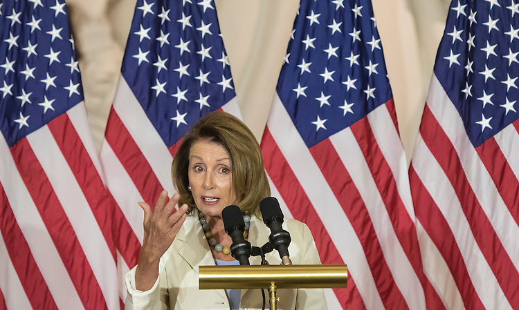 UNITED STATES - JUNE 8 - House Minority Leader Nancy Pelosi delivers remarks during the Congressional Commemoration Ceremony in honor of the 50th anniversary of the Vietnam War, on Capitol Hill in Washington, D.C. on July 8, 2015. (Photo By Al Drago/CQ Roll Call)