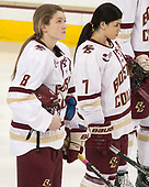 Rachel Moore (BC - 8), Kristyn Capizzano (BC - 7) - The number one seeded Boston College Eagles defeated the eight seeded Merrimack College Warriors 1-0 to sweep their Hockey East quarterfinal series on Friday, February 24, 2017, at Kelley Rink in Conte Forum in Chestnut Hill, Massachusetts.The number one seeded Boston College Eagles defeated the eight seeded Merrimack College Warriors 1-0 to sweep their Hockey East quarterfinal series on Friday, February 24, 2017, at Kelley Rink in Conte Forum in Chestnut Hill, Massachusetts.