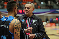 NZ Men's coach David Pala'amo during the Cadbury Netball Series match between NZ Men and All Stars at the Bruce Pullman Arena in Papakura, New Zealand on Friday, 28 June 2019. Photo: Dave Lintott / lintottphoto.co.nz