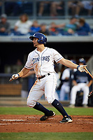 Charlotte Stone Crabs third baseman Kevin Padlo (11) follows through on a swing during a game against the Palm Beach Cardinals on April 11, 2017 at Charlotte Sports Park in Port Charlotte, Florida.  Palm Beach defeated Charlotte 12-6.  (Mike Janes/Four Seam Images)