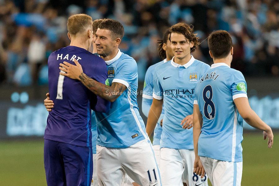 Melbourne, 21 July 2015 - Manchester City celebrate their win against Roma in game two of the International Champions Cup match at the Melbourne Cricket Ground, Australia. City def Roma 5-4 in Penalties. (Photo Sydney Low / AsteriskImages.com)