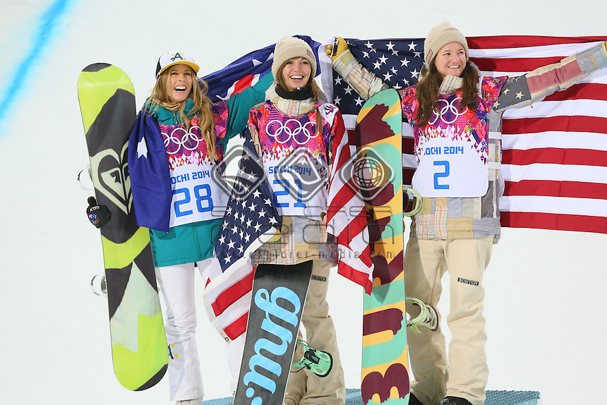 Torah Bright  (AUS) Silver ; Kaitlyn Farrington (USA) Gold;<br /> Kelly Clark (USA) Bronze<br /> 2014 Sochi Winter Olympics Women's Snowboard Half Pipe<br /> Rosa Khutor - Extreme Park<br /> 12.02.2014 Sochi, Krasnodar Krai, Russia. <br /> &copy; Sport the library / Yutaka