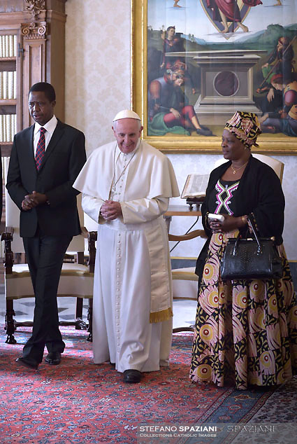 Pope Francis meets Zambia's President Edgar Lungu during a private audience on February 5, 2016 at the Vatican.