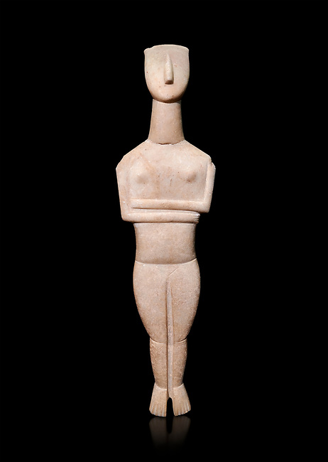 Cycladic Canonical type, Spedos variety female figurine statuette from Naxos or Keros. Early Cycladic Period II, (2800-2300 BC), 'Goulandris Master'.  Museum of Cycladic Art Athens,   Against black<br /> <br /> The 'Goulandris Master' was named because of the N.P Goulandris collection which had a significat number of Cycladic figureines attributed to one sculptor. The characteristic traits of his work are : statues of 32 to 98 cm tall, precise incisions demarcating the neck, the abdomen and pubic triangle asv well as knees and spinal column, the statues have a rounded outline. Traces of colour were found on the statue.