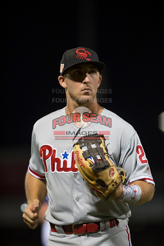 Scottsdale Scorpions left fielder Austin Listi (23), of the Philadelphia Phillies organization, jogs off the field between innings of an Arizona Fall League game against the Mesa Solar Sox at Sloan Park on October 10, 2018 in Mesa, Arizona. Scottsdale defeated Mesa 10-3. (Zachary Lucy/Four Seam Images)