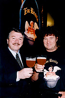 Montreal,July 1996 File Photo with new caption<br /> <br /> <br />  - Andr&raquo; Dion, president and CEO of Unibroue, seen here on the right,  in a July 1996 File photo taken with singer and business partner Robert Charlebois (right).<br />  today announced that all beers produced at his Chambly brewery have again been<br /> certified free of genetically modified organisms.<br />     After the Canadian Food Inspection Agency (CFIA) rescinded its<br /> certification of Unibroue products when the brewery mentioned this fact in its<br /> advertising, Unibroue decided to submit its entire product line to an<br /> internationally recognized laboratory that would confirm whether or not its<br /> beers were free of GMOs.<br /> <br /> (Photo : (c) 1996 Pierre Roussel<br /> NOTE : Scan  , saved as Adobe RG 1998