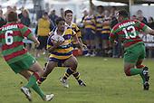 Patumahoe centre S. Fehoko confronts S. Kata. Counties Manukau Premier Club Rugby, Waiuku vs Patumahoe played at Rugby Park, Waiuku on the 8th of April 2006. Waiuku won 18 - 15