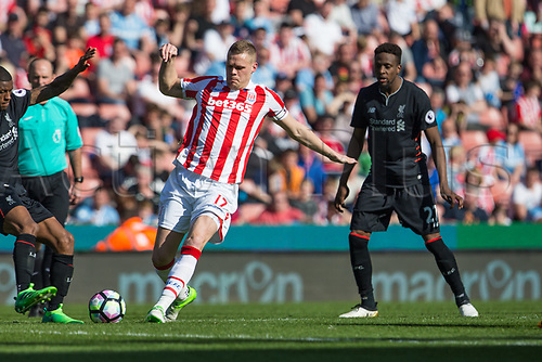 April 8th 2017, bet365 Stadium, Stoke on Trent, Staffordshire, England; EPL Premier League football, Stoke City versus Liverpool; Stoke City's Ryan Shawcross crosses the ball
