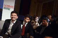 Roma, 2 Dicembre 2012.Teatro Capranica.PierLuigi Bersani festeggia la vittoria delle primarie.Roberto Speranza, Tommaso Giuntella, Alessandra Moretti, la giovane squadra delle primarie