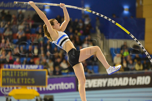 27.02.2016. EIS Sheffield, Sheffield, England. British Indoor Athletics Championships Day One. Courtney McGuire competes in the Pole-vault final.