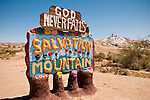 Sign at the entrance to Leonard Knight's Salvation Mountain, near Niland, Calif. proclaiming Gold Never Fails