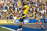 Marvin Jones motions to fans after scoring the touchdown. The California Golden Bears defeated the UCLA Bruins 35-7 at Memorial Stadium in Berkeley, California on October 9th, 2010.