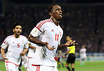 September 1, 2016, Saitama, Japan - UAE's Ahmed Khalil celebrates as he scores a goal during the Asian qualifier for FIFA World Cup Russia against UAE in Saitama, suburban Tokyo on Thursday, September 1, 2016. UAE defeated Japan 2-1.   (Photo by Yoshio Tsunoda/AFLO) LWX -ytd-