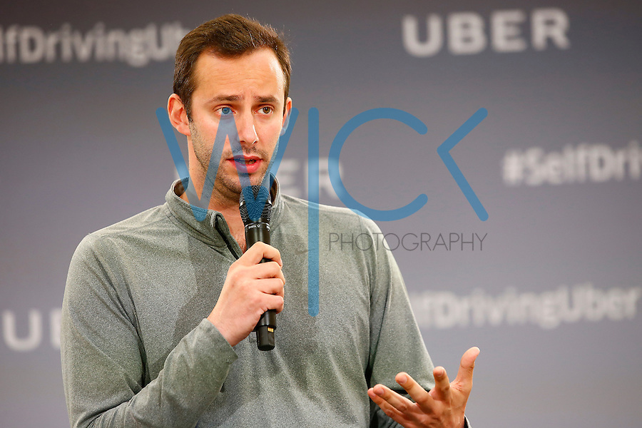 Anthony Levandowski, Otto Co-founder and VP of Engineering at Uber, speaks to the media on Tuesday, September 13, 2016 in Pittsburgh, Pennsylvania. (Photo by Jared Wickerham/Wick Photography)