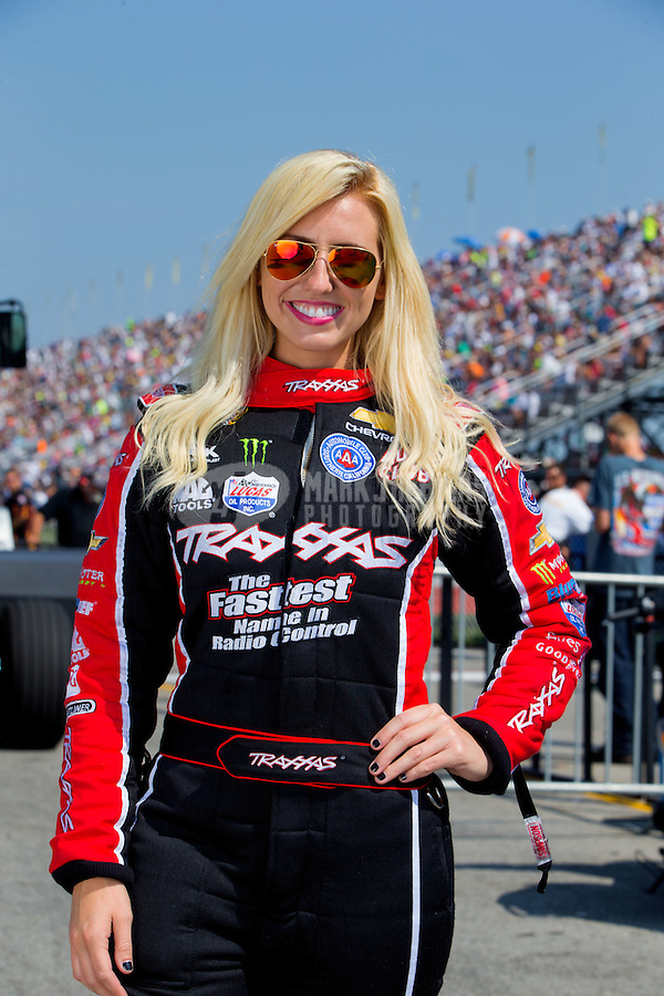 Sep 6, 2015; Clermont, IN, USA; NHRA funny car driver Courtney Force poses for a portrait during qualifying for the US Nationals at Lucas Oil Raceway. Mandatory Credit: Mark J. Rebilas-USA TODAY Sports