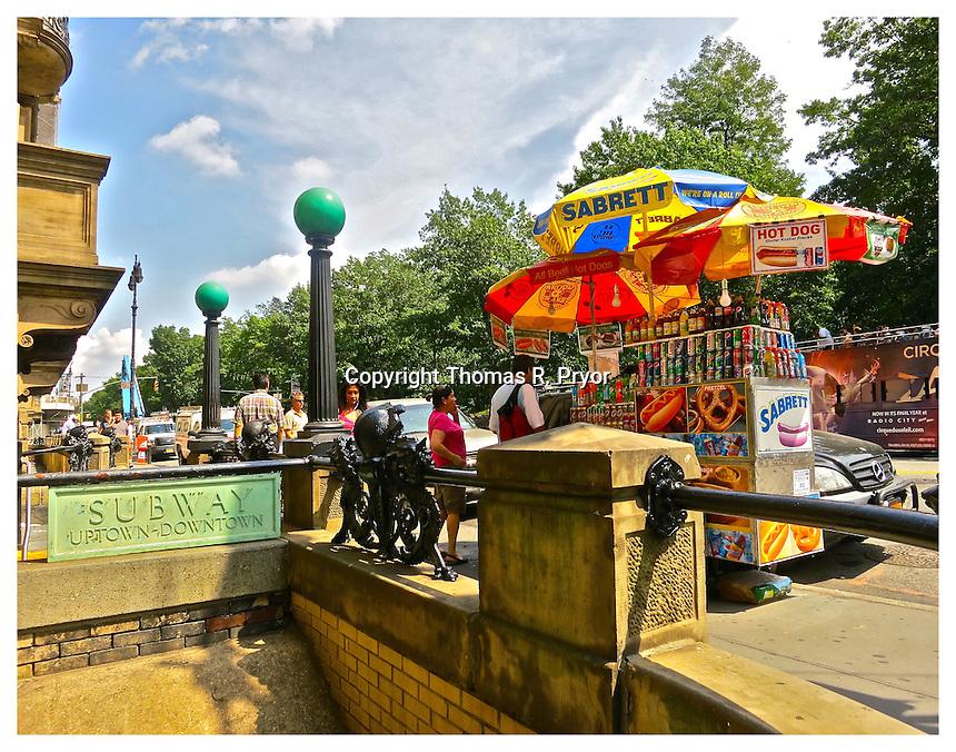 NEW YORK, NY - AUGUST 23: Photograph of hotdog cart and subway stop at The Dakota at 72nd Street of Central Park West on August 23, 2012 in New York, New York. Photo Credit: Thomas R. Pryor