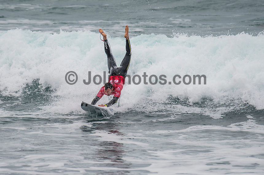 BELLS BEACH, Victoria/AUS (Monday, March 28, 2016) Joel Parkinson (AUS)  - Action at the Rip Curl Pro Bells Beach, the second stop on the World Surf League (WSL) Championship Tour (CT), continued today with the remaining six heats of Round Three before the contest was called off for the day.<br /> There were onshore South West winds throughout the day with a dropping swell in the 3'-5' range. <br /> The Heritage Round with Damien Hardman (AUS) and Barton Lynch (AUS) was held today with Lynch coming out victorious. <br /> <br /> Bells Beach has been hosting surfing tournaments for more than 50 years now, making it the most renowned spot on the raw and rugged southern coast of Victoria, Australia. The list of  Rip Curl Pro event champions is a veritable who's who of surfing icons, including many world champions.<br /> <br /> Surfing's greats have a way of dominating Bells. Mark Richards, Kelly Slater, and Mick Fanning all have four Bells trophies; Michael Peterson and Sunny Garcia, three; While Simon Anderson, Tom Curren, Joel Parkinson, Andy Irons, and Damien Hardman each grabbed a pair.<br /> <br /> The story is similar on the women's side. Lisa Andersen and Stephanie Gilmore have four Bells titles; Layne Beachley and Pauline Menczer, three; while Kim Mearig and Sally Fitzgibbons each have two.<br /> <br /> The 2016 event is about to kick off tomorrow and there was a packed warm up session at Bells this morning. <br /> Photo: joliphotos.com