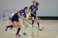 Malaysia's Ling Ling Ang in action during the World Floorball Championships 2017 Qualification for Asia Oceania Region - Malaysia v China at ASB Sports Centre , Wellington, New Zealand on Sunday 5 February 2017.<br /> Photo by Masanori Udagawa<br /> www.photowellington.photoshelter.com.