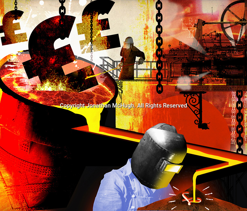 Workers in steelworks melting British pound sign ExclusiveImage