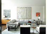 In the sitting room a painting by Larry Poons hangs above a Holly Hunt sofa, which is upholstered in a Great Plains silk velvet. A 1970s cocktail table by Charles Hollis Jones continues the retro feel. In contrast, in one corner is a 19th century Biedermeier chest.