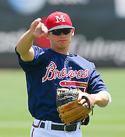 Infield prospect Brent Lillibridge of the Mississippi Braves, the Atlanta Braves' Class AA affiliate of the Southern League, in a game against the Birmingham Barons April 22, 2007, at Trustmark Park in Pearl, Miss. Photo by:  Tom Priddy/Four Seam Images