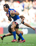 Samoa vs New Zealand during the HSBC Sevens Wold Series Cup Semi Finals match as part of the Cathay Pacific / HSBC Hong Kong Sevens at the Hong Kong Stadium on 29 March 2015 in Hong Kong, China. Photo by Juan Manuel Serrano / Power Sport Images