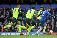 Three Huddersfield Town players chase after Chelsea's Eden Hazard during Chelsea vs Huddersfield Town, Premier League Football at Stamford Bridge on 2nd February 2019
