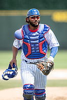 South Bend Cubs catcher Rafelin Lorenzo (33) in action against the Lake County Captains on May 30, 2019 at Four Winds Field in South Bend, Indiana. The Captains defeated the Cubs 5-1.  (Andrew Woolley/Four Seam Images)