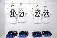 Daniel James, Matt Grimes, Joe Rodon and Connor Roberts of Swansea City shirts hang prior to the Sky Bet Championship match between Millwall and Swansea City at The Den in London, England. September 1, 2018