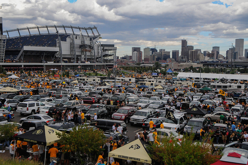 A general view of tailgaters, Invesco Field (now Sports Authority Field) at Mile High and the Denver skyline prior to the Colorado vs Colorado State game at Invesco Field at Mile High prior to the September 31 2008 matchup between the rival teams.