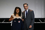 15 January 2016: Raquel Rodriguez (CRC) (left), with NWSL commissioner Jeff Plush (right), was taken with the #2 overall pick by Sky Blue FC. The 2016 NWSL College Draft was held at The Baltimore Convention Center in Baltimore, Maryland as part of the annual NSCAA Convention.