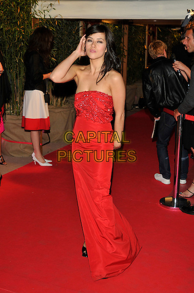 "MYLENE JAMPANOI.""Kung Fu Panda"" party arrivals at the Majestic Hotel beach during the 61st Cannes International Film Festival, Cannes, France..15th May 2008 .full length long red strapless dress hand .CAP/PL.© Phil Loftus/Capital Pictures"