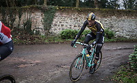 Maarten Wynants (BEL/LottoNL-Jumbo) on the Chemin de Wih&eacute;ries cobble section (Honelles)<br /> <br /> GP Le Samyn 2017 (1.1)