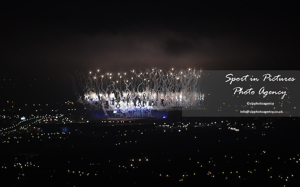 fireworks over Celtic Park. Opening Ceremony - Celtic Park - Glasgow- PHOTO: Mandatory by-line: Garry Bowden/SIPPA/Pinnacle - Photo Agency UK Tel: +44(0)1363 881025 - Mobile:0797 1270 681 - VAT Reg No: 183700120 - 240714 - Glasgow 2014 Commonwealth Games - Celtic Park, Glasgow, Scotland, UK