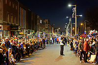 "Pictured: Locals line the Kingsway to watch the Christmas parade in Swansea, Wales, UK. Sunday 19 November 2018<br /> Re: Swansea Christmas parade attended by thousands has been branded a ""shambles"" for having just three floats.<br /> The annual festive event in south Wales, which took place on Sunday, promised ""dynamic dance-troupes"" as well as ""spectacular shows and stages"".<br /> But the parade was scaled down, leading to a barrage of criticism on social media because of roadworks in the city centre. <br /> The leader of Swansea Council, Rob Stewart apologised on Facebook and said the parade was not ""good enough"".<br /> Parents took on social media to voice their anger, calling the event ""a load of rubbish"" and claiming there was nothing for young children apart from ""a loud music float with Santa on""."