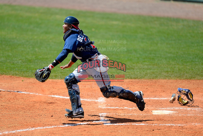 Atlanta Braves catcher Luis De La Cruz during a minor league Spring Training game against the Philadelphia Phillies at Al Lang Field on March 14, 2013 in St. Petersburg, Florida.  (Mike Janes/Four Seam Images)