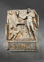 Roman Sebasteion relief  sculpture of Royal Hero with hunting dogs,  Aphrodisias Museum, Aphrodisias, Turkey.  Against a grey background.<br /> <br /> A diademed youth stands with his horse and hunting dogs. At the left an oval shield (foreign) hangs from a leafless tree, against which leans a long thin club. The Royal hero in this and the relief to the left is probably a local founder such as Assyrian King Ninos, claimed as founder of their city by the Aphrodisians.
