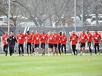 Members of D.C. United warming up at the pre-season practice on the auxiliary fields at RFK Stadium, Thursday February 28, 2013.