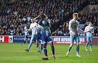 Myles Weston of Wycombe Wanderers reaction after missing a good opportunity to score during the The Checkatrade Trophy - EFL Trophy Semi Final match between Coventry City and Wycombe Wanderers at the Ricoh Arena, Coventry, England on 7 February 2017. Photo by Andy Rowland.