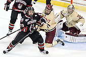 Cody Ferriero (NU - 79), Isaac MacLeod (BC - 7), Parker Milner (BC - 35) - The Boston College Eagles defeated the visiting Northeastern University Huskies 3-0 after a banner-raising ceremony for BC's 2012 national championship on Saturday, October 20, 2012, at Kelley Rink in Conte Forum in Chestnut Hill, Massachusetts.
