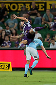 9th January 2018, nib Stadium, Perth, Australia; A League football, Perth Glory versus Melbourne City; Jeremy Walker of the Perth Glory jumps on the back of a Melbourne City player during the second half
