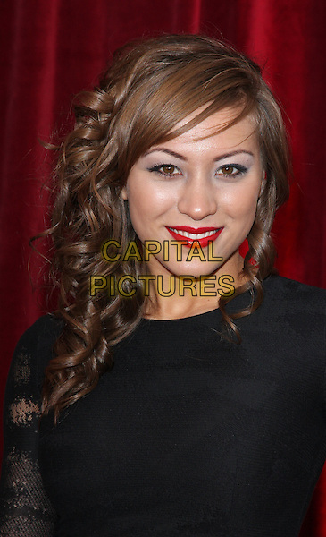 HELEN RUSSELL-CLARK.British Soap Awards 2010 at the London ITV Studios, South Bank, London, England..May 8th 2010.arrivals headshot portrait black red lipstick eyeshadow make-up .CAP/ROS.©Steve Ross/Capital Pictures.