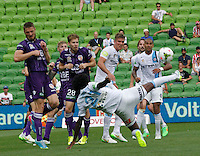 Kew Jaliens shoots a volley   during the  A-League soccer match between Melbourne City FC and Perth Glory at AAMI Park on February 22, 2015 in Melbourne, Australia.