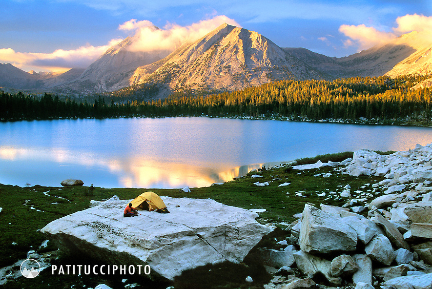 Backpacking camp at Young Lakes, Tuolumne Meadows beneath Mt. Conness
