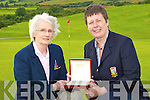 PRIZE: Castleisland Lady Captain Leila Moloney presents the Lady's Captain prize to the winner Betty McAuliffe at Castleisland Golf Course on Monday   Copyright Kerry's Eye 2008