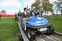 Rory McIlroy (Team Europe) joins Thomas Bjorn, Team Europe Ryder Cup Vice-Captain,  and Henrik Stenson (Team Europe) for a buggy ride during Thursday's Practice Round ahead of The 2016 Ryder Cup, at Hazeltine National Golf Club, Minnesota, USA.  29/09/2016. Picture: David Lloyd | Golffile.