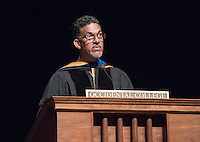 Interim Vice President for Academic Affairs and Dean of the College Kerry Thompson. 508 members of the Class of 2020 are welcomed to Occidental College by trustees, faculty and staff in Thorne Hall on Aug. 30, 2016 during Oxy's 129th Convocation ceremony, a tradition that formally marks the start of the academic year and welcomes the new class.<br /> (Photo by Marc Campos, Occidental College Photographer)
