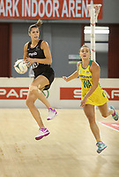 JOHANNESBURG, SOUTH AFRICA - JANUARY 28: Kayla Cullenof the Silver Ferns and Liz Watson in action during the Netball Quad Series netball match between Diamonds and Silver Ferns at the Ellis Park Arena in Johannesburg. Mandatory Photo Credit: ©Reg Caldecott/Michael Bradley Photography