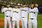 (L-R)<br /> Yuji Nishino (JPN),<br /> Kazuhisa Makita (JPN), <br /> Yuki Nishi (JPN),<br /> Takahiro Norimoto (JPN), <br /> NOVEMBER 15, 2014 - Baseball : <br /> 2014 All Star Series Game 3 between Japan 4-0 MLB All Stars <br /> at Tokyo Dome in Tokyo, Japan. <br /> (Photo by Shingo Ito/AFLO SPORT)[1195]